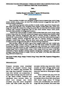 PENGARUH BAURAN PEMASARAN TERHADAP KEPUTUSAN MENGGUNAKAN JASA PADA CV NIRWANA PRINTING DI SAMARINDA. Oleh :