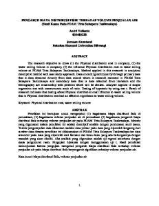 PENGARUH BIAYA DISTRIBUSI FISIK TERHADAP VOLUME PENJUALAN AIR (Studi Kasus Pada PDAM Tirta Sukapura Tasikmalaya) Andri Yulianto