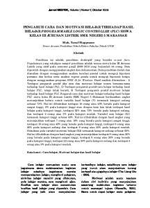 PENGARUH CARA DAN MOTIVASI BELAJAR TERHADAP HASIL BELAJAR PROGRAMMABLE LOGIC CONTROLLER (PLC) SISWA KELAS III JURUSAN LISTRIK SMK NEGERI 5 MAKASSAR