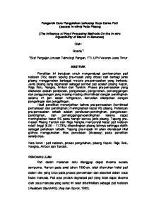 Pengaruh Cara Pengolahan terhadap Daya Cerna Pati (secara in-vitro) Pada Pisang