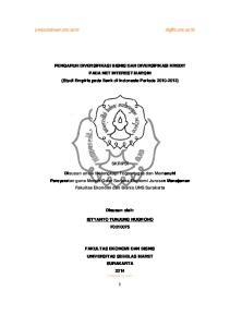 PENGARUH DIVERSIFIKASI BISNIS DAN DIVERSIFIKASI KREDIT PADA NET INTEREST MARGIN (Studi Empiris pada Bank di Indonesia Periode )
