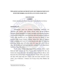 PENGARUH FAKTOR-FAKTOR RETAILING MIX TERHADAP KEPUASAN KONSUMEN BERBELANJA DI SWALAYAN SURYA BARU PATI