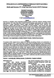 PENGARUH GAYA KEPEMIMPINAN TERHADAP MOTIVASI KERJA KARYAWAN (Studi pada Karyawan PT. Lintas Nusa Gema Televisi (LNGTV) Bontang)