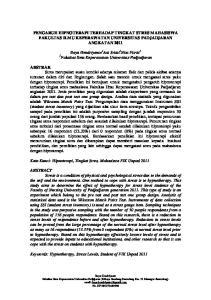 PENGARUH HIPNOTERAPI TERHADAP TINGKAT STRES MAHASISWA FAKULTAS ILMU KEPERAWATAN UNIVERSITAS PADJADJARAN ANGKATAN 2011