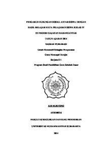 PENGARUH HUBUNGAN SOSIAL ANTAR SISWA DENGAN HASIL BELAJAR MATA PELAJARAN SISWA KELAS IV SD NEGERI GAJAHAN KARANGANYAR TAHUN AJARAN 2014