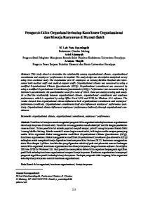Pengaruh Iklim Organisasi terhadap Komitmen Organisasional dan Kinerja Karyawan di Rumah Sakit