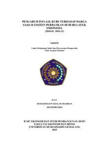 PENGARUH INFLASI, KURS TERHADAP HARGA SAHAM EMITEN PERBANKAN DI BURSA EFEK INDONESIA ( )