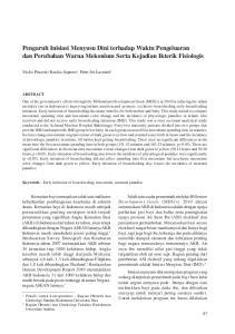 Pengaruh Inisiasi Menyusu Dini terhadap Waktu Pengeluaran dan Perubahan Warna Mekonium Serta Kejadian Ikterik Fisiologis