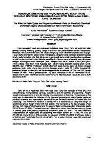 PENGARUH JENIS PETIS DAN PROPORSI KACANG TANAH : PETIS TERHADAP SIFAT FISIK, KIMIA DAN ORGANOLEPTIK PEMBUATAN BUMBU TAHU TEK INSTAN