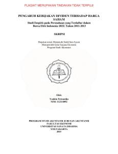PENGARUH KEBIJAKAN DIVIDEN TERHADAP HARGA SAHAM Studi Empiris pada Perusahaan yang Terdaftar dalam Bursa Efek Indonesia (BEI) Tahun