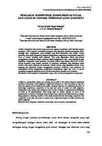 PENGARUH KOMPETENSI, KOMPLEKSITAS TUGAS, DAN LOCUS OF CONTROL TERHADAP AUDIT JUDGMENT