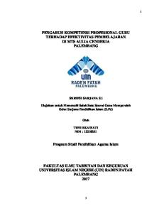 PENGARUH KOMPETENSI PROFESIONAL GURU TERHADAP EFEKTIVITAS PEMBELAJARAN DI MTS AULIA CENDEKIA PALEMBANG