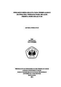 PENGARUH MEDIA REALITA PADA PEMBELAJARAN MATEMATIKA TERHADAP HASIL BELAJAR PESERTA DIDIK KELAS IV SD ARTIKEL PENELITIAN