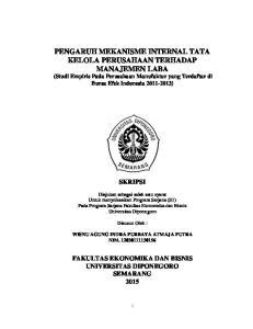 PENGARUH MEKANISME INTERNAL TATA KELOLA PERUSAHAAN TERHADAP MANAJEMEN LABA