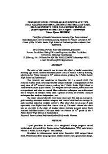 PENGARUH MODEL PEMBELAJARAN KOOPERATIF TIPE TEAM ASISSTED INDIVIDUALIZATION