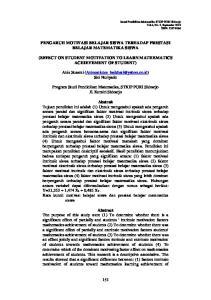 PENGARUH MOTIVASI BELAJAR SISWA TERHADAP PRESTASI BELAJAR MATEMATIKA SISWA (EFFECT ON STUDENT MOTIVATION TO LEARN MATHEMATICS ACHIEVEMENT OF STUDENT)