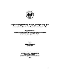 Pengaruh Penambahan EM4 (Effective Microorganism-4) pada Pembuatan Biogas dari Eceng Gondok dan Rumen Sapi