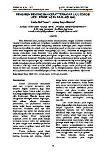 PENGARUH PENDINGINAN CEPAT TERHADAP LAJU KOROSI HASIL PENGELASAN BAJA AISI 1045