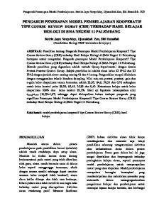 PENGARUH PENERAPAN MODEL PEMBELAJARAN KOOPERATIF TIPE COURSE REVIEW HORAY (CRH) TERHADAP HASIL BELAJAR BIOLOGI DI SMA NEGERI 11 PALEMBANG