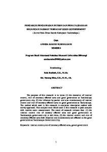 PENGARUH PENGAWASAN INTERN DAN PENATAUSAHAAN KEUANGAN DAERAH TERHADAP GOOD GOVERNEMENT ( Survei Pada Dinas Daerah Kabupaten Tasikmalaya )