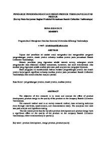 PENGARUH PENGEMBANGAN DAN DESAIN PRODUK TERHADAP KUALITAS PRODUK (Survey Pada Karyawan Bagian Produksi Perusahaan Bastoh Collection Tasikmalaya)