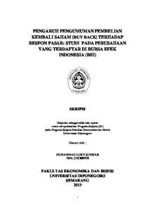 PENGARUH PENGUMUMAN PEMBELIAN KEMBALI SAHAM (BUY BACK) TERHADAP RESPON PASAR: STUDI PADA PERUSAHAAN YANG TERDAFTAR DI BURSA EFEK INDONESIA (BEI)