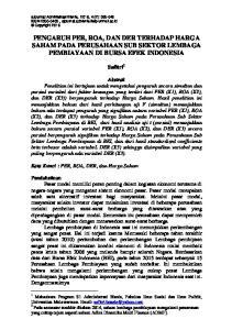 PENGARUH PER, ROA, DAN DER TERHADAP HARGA SAHAM PADA PERUSAHAAN SUB SEKTOR LEMBAGA PEMBIAYAAN DI BURSA EFEK INDONESIA