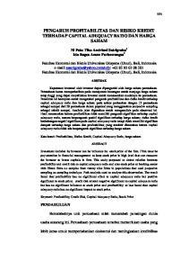 PENGARUH PROFITABILITAS DAN RISIKO KREDIT TERHADAP CAPITAL ADEQUACY RATIO DAN HARGA SAHAM
