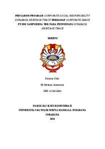 PENGARUH PROGRAM CORPORATE SOCIAL RESPONSIBILITY SURABAYA HERITAGE TRACK