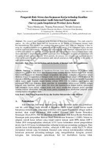 Pengaruh Role Stress dan Kepuasan Kerja terhadap Kualitas Rekomendasi Audit Internal Pemerintah (Survey pada Inspektorat Provinsi Jawa Barat)