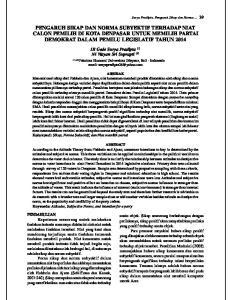 PENGARUH SIKAP DAN NORMA SUBYEKTIF TERHADAP NIAT CALON PEMILIH DI KOTA DENPASAR UNTUK MEMILIH PARTAI DEMOKRAT DALAM PEMILU LEGISLATIF TAHUN 2014
