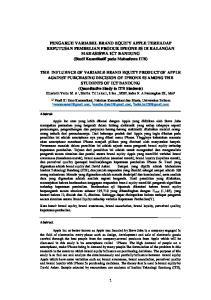 PENGARUH VARIABEL BRAND EQUITY APPLE TERHADAP KEPUTUSAN PEMBELIAN PRODUK IPHONE 5S DI KALANGAN MAHASISWA ICT BANDUNG