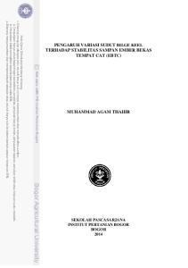 PENGARUH VARIASI SUDUT BILGE KEEL TERHADAP STABILITAS SAMPAN EMBER BEKAS TEMPAT CAT (EBTC) MUHAMMAD AGAM THAHIR