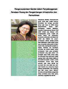 Pengarusutamaan Gender dalam Penyelenggaraan Penataan Ruang dan Pengembangan Infrastruktur dan Permukiman