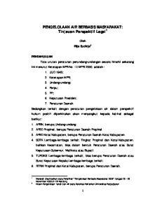 PENGELOLAAN AIR BERBASIS MASYARAKAT: Tinjauan Perspektif Legal 1