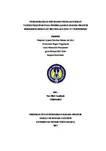 PENGEMBANGAN INSTRUMEN PENILAIAN SIKAP TANGGUNGJAWAB PADA PEMBELAJARAN BAHASA PRANCIS BERBASIS KURIKULUM 2013 KELAS X SMA N 7 PURWOREJO