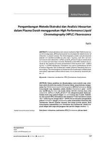Pengembangan Metode Ekstraksi dan Analisis Irbesartan dalam Plasma Darah menggunakan High Performance Liquid Chromatography (HPLC) Fluorescence