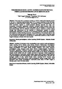 PENGEMBANGAN MODEL ACTIVE LEARNING ICARE SYSTEM PADA PEMBELAJARAN MATEMATIKA UNTUK SISWA KELAS VII