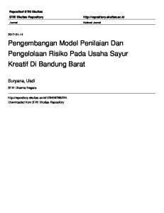 Pengembangan Model Penilaian Dan Pengelolaan Risiko Pada Usaha Sayur Kreatif Di Bandung Barat