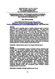 PENGEMBANGAN MODEL REVITALISASI OLAHRAGA TRADISIONAL MENJADI SPORT FOR ALL PADA MASYARAKAT SUKU DAYAK DARI PERSPEKTIF FENOMENOLOGI