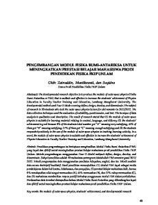 PENGEMBANGAN MODUL FISIKA BUMI-ANTARIKSA UNTUK MENINGKATKAN PRESTASI BELAJAR MAHASISWA PRODI PENDIDIKAN FISIKA FKIP UNLAM
