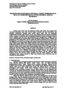 PENGEMBANGAN PENDIDIKAN FINANCIAL LITERACY BERBASIS NILAI- NILAI ANTI KORUPSI SEBAGAI INVESTASI SOSIAL: SEBUAH PEMIKIRAN