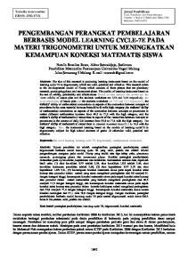 PENGEMBANGAN PERANGKAT PEMBELAJARAN BERBASIS MODEL LEARNING CYCLE-7E PADA MATERI TRIGONOMETRI UNTUK MENINGKATKAN KEMAMPUAN KONEKSI MATEMATIS SISWA