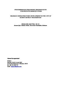 PENGEMBANGAN PRASARANA DRAINASE KOTA DI KABUPATEN MAMUJU UTARA DRAINAGE INFRASTRUCTURE DEVELOPMENT IN THE CITY OF NORTH DISTRICT PRODUKTION