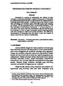 PENGEMBANGAN SISTEM FILSAFAT PANCASILA 1. Keywords: Pancasila, hierarchy-pyramidal, a philosophical system, Implementation, powerful