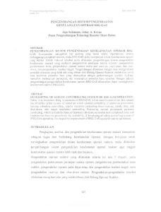 PENGEMBANGAN SISTEM PENGENDALIAN KESELAMA T AN OPERASI RSG-GAS. Jaja Sukmana, Johny A. Korua Pusat Pengembangan Teknologi Reaktor Riset-Batan