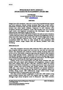 PENGUKURAN MUTU JURUSAN : STUDI KASUS ITS MANAGEMENT AWARD 2004