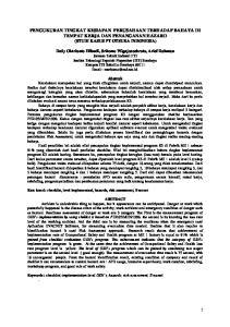 PENGUKURAN TINGKAT KESIAPAN PERUSAHAAN TERHADAP BAHAYA DI TEMPAT KERJA DAN PENANGANAN HAZARD (STUDI KASUS PT OTSUKA INDONESIA)