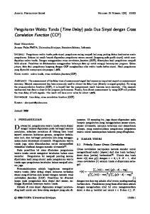 Pengukuran Waktu Tunda (Time Delay) pada Dua Sinyal dengan Cross Correlation Function (CCF)
