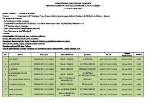 PENGUMUMAN HASIL SELEKSI DOKUMEN PROGRAM REKRUTMEN REGULER TINGKAT SLTA SE-DERAJAT CILEGON, 4 Juni 2013